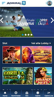 L'home page dell'app AdmiralYES