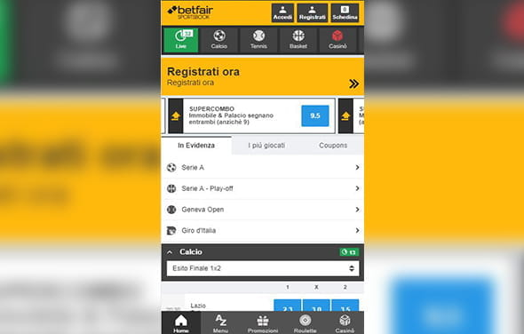 La home page della betting app Blackberry di Betfair