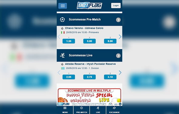 La home page della betting app Blackberry di BetFlag