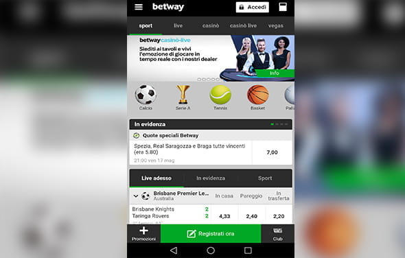 La home page della betting app Windows Phone di Betway