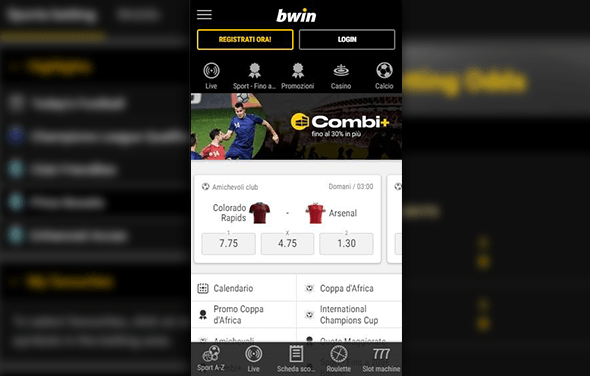 La home page della betting app Windows Phone di bwin