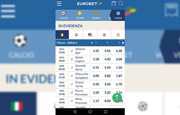 La home page della betting app Windows Phone di Eurobet
