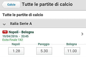 Selezione quote app paddypower