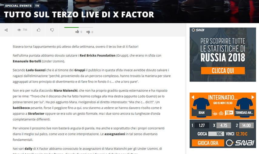 373b8c0461 Il blog con le notizie su X Factor per le scommesse speciali con SNAI