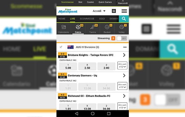 La home page della betting app Windows Phone di Sisal