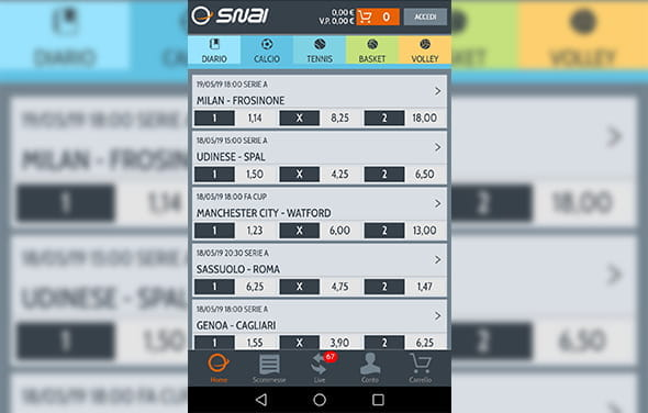 La home page della betting app Windows Phone di SNAI