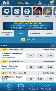 Scommesse live williamhill
