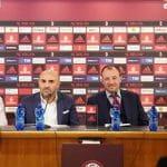 I giocatori del Milan Andrea Conti e Marco Storari, l'ad di Snaitech Fabio Schiavolin