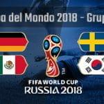 La composizione del gruppo F della Coppa del Mondo Russia 2018 con le bandiere di Germania, Messico, Svezia, Corea del Sud