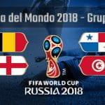 Il gruppo G della Coppa del Mondo Russia 2018 con le bandiere di Belgio, Inghilterra, Panama e Tunisia