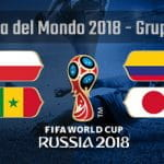 Il Gruppo H della Coppa del Mondo Russia 2018 con le bandiere di Polonia, Colombia, Senegal e Giappone