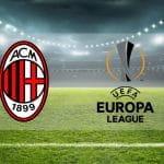 Stadio con loghi Associazione Calcio Milan e Uefa Europa League
