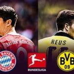 Robert Lewandowski e Marco Reus, con i simboli di Bayern Monaco, Borussia Dortmund e Bundesliga