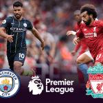 Sergio Aguero e Mohamed Salah con i loghi di Manchester City, Premier League e Liverpool