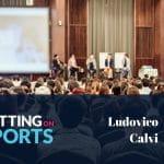Il panel di Betting on Sports con Ludovico Calvi, presidente di GLMS, e il logo della manifestazione