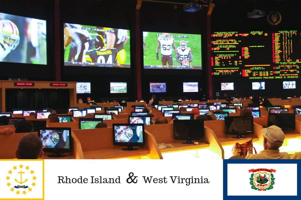 Sala scommesse con televisori e le bandiere di Rhode Island e West Virginia