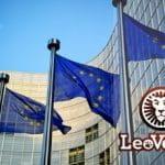 La sede della Commissione Europea a Bruxelles e il logo Leo Vegas