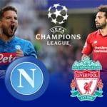 Dries Mertens e Mohamed Salah, con il logo della Champions League e gli stemmi di Napoli e Liverpool
