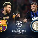 Leo Messi del Barcellona, Mauro Icardi dell'Inter, gli stemmi delle due squadre e il logo della Uefa Champions League