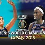 Paola Egonu e Lucia Bosetti, giocatrici di volley della nazionale italiana femminile, e il logo del mondiale di volley femminile 2018