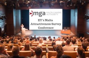 La sala conferenza e il logo MGA alla Malta Gaming Authority EY's Malta Annual Attractiveness Survey Conference