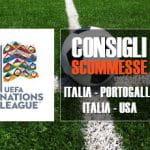 I consigli scommesse per il terzo turno di Nations League Italia - Portogallo, e per l'amichevole Italia - Usa