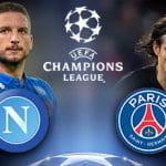 Dries Mertens ed Edinson Cavani, con i loghi del Napoli, del Paris Saint-Germain e della Uefa Champions League