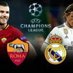 Edin Džeko e Luka Modrić, con i loghi della Roma, del Real Madrid e della Champions League