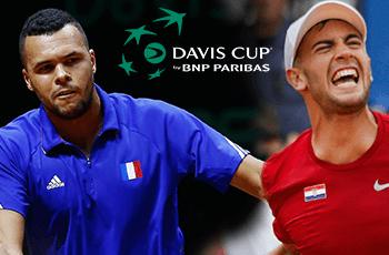 Jo-Wilfried Tsonga, il logo della Coppa Davis, Borna Coric