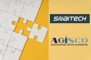 Un puzzle, il logo Snaitech, il logo A.GI.SCO.