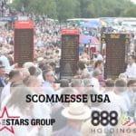 I loghi di The Stars Group e 888 Holdings, con una folla di scommettitori e di bookmaker all'aperto in occasione di una manifestazione sportiva