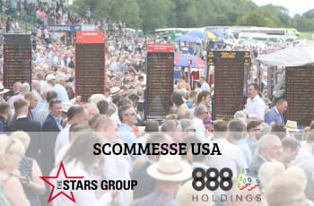 I loghi di The Stars Group e 888 Holdings, con una folla di scommettitori e di bookmaker all'aperto in occasione di una manifestazione sportiva