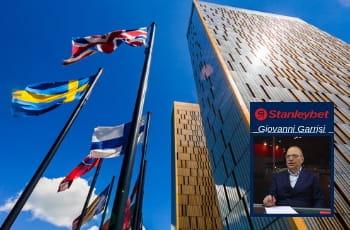La sede della Corte di Giustizia Europea e, in un riquadro, Giovanni Garrisi, CEO di Stanleybet con il logo della società