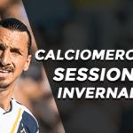 Zlatan Ibrahimovic con la maglia dei Los Angeles Galaxy e la scritta Calciomercato sessione invernale