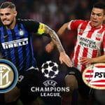 Mauro Icardi e Hirving Lozano, con i loghi di Inter, PSV Eindhoven e della Champions League