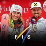 Mikaela Shiffrin e Marcel Hirscher sollevano la coppa di cristallo di campioni del mondo di sci alpino 2018, il logo FIS
