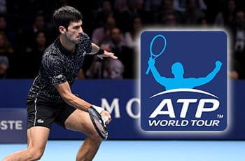 Il tennista Novak Djokovic in azione e il simbolo della ATP