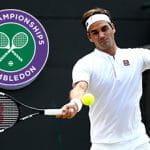 Roger Federer e il logo di Wimbledon