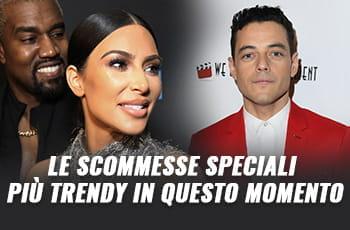 """Kim Kardashian, Kanye West, Rami Malek e la scritta """"Le scommesse speciali più trendy in questo momento"""""""