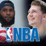 LeBron James, Luka Doncic, il logo NBA