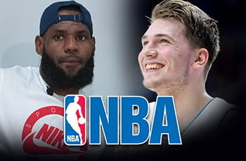LeBron James, Luka Doncic, il logo NBA