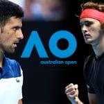 I tennisti Novak Djokovic e Alexander Zverev, in mezzo il logo dell'Australian Open