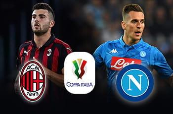 I calciatori Patrick Cutrone e Ardadiusz Milik con i loghi di Milan e Napoli e quello della Coppa Italia