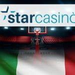 La bandiera dell'Italia, un canestro da basket e il logo di StarCasinò