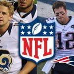 Il quarterback di Los Angeles Rams Jared Goff, il logo della NFL e il quaterback di New England Patriots Tom Brady