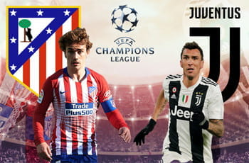 Antoine Griezmann e il logo dell'Atletico Madrid, Mario Mandzukic e il logo della Juventus e il logo della Champions League, sullo sfondo uno stadio affollato