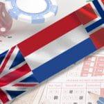 Le bandiere di Inghilterra, Olanda e Norvegia e, sullo sfondo, una schedina scommesse e alcune fiches