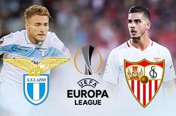 Ciro Immobile e il logo della Lazio, André Silva e il logo del Siviglia, il logo dell'Europa League