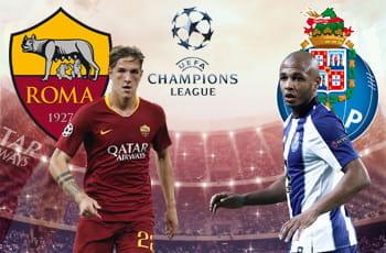 Nicolò Zaniolo con il logo della Roma, Yacine Brahimi con il logo del Porto e il logo della Champions League. Sullo sfondo, uno stadio affollato
