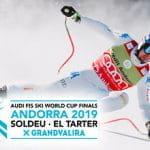 Lo sciatore Dominik Paris, il logo delle finali di Coppa del Mondo di sci alpino 2019 a Soldeu